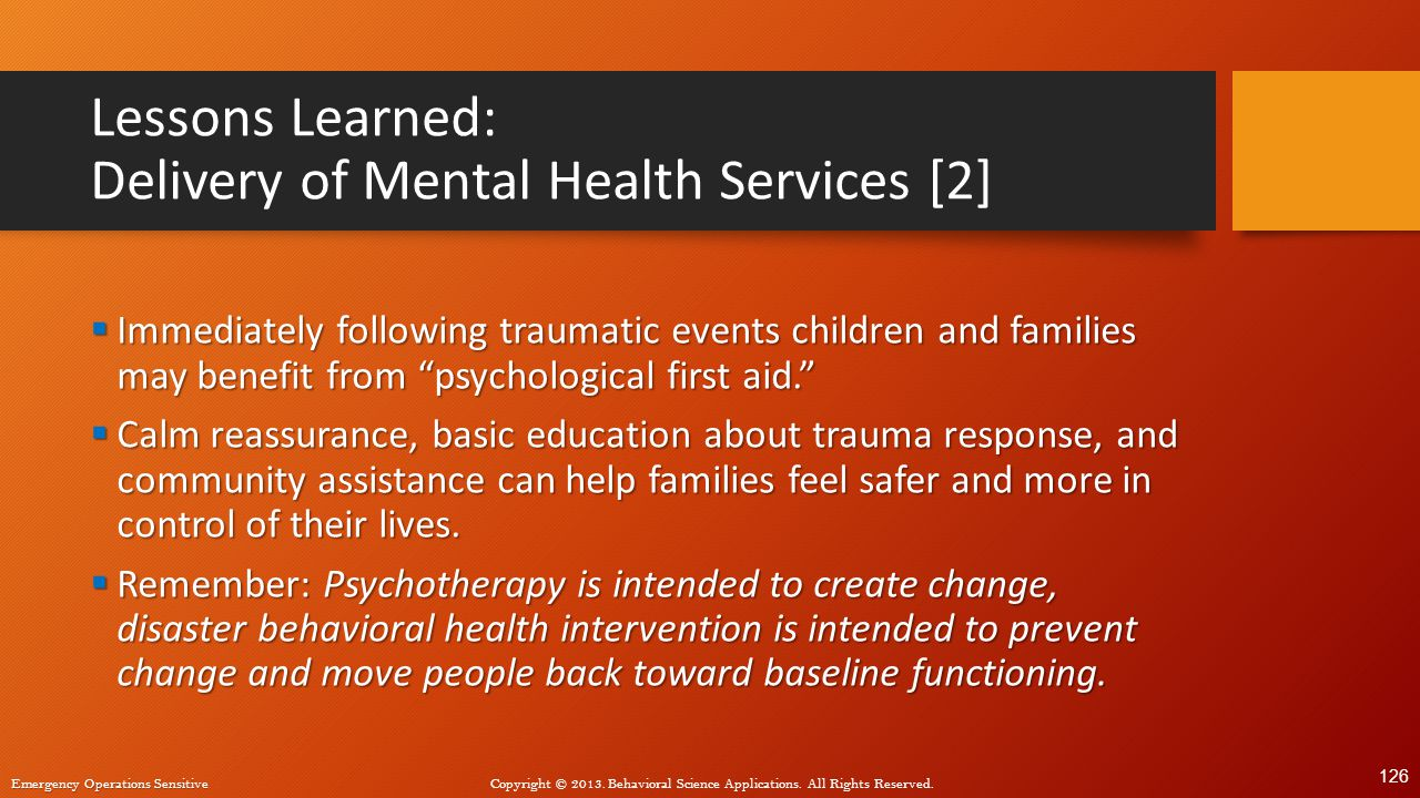 Lessons Learned: Delivery of Mental Health Services [2]